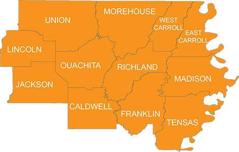 map of northeast louisiana About Us Food Bank map of northeast louisiana